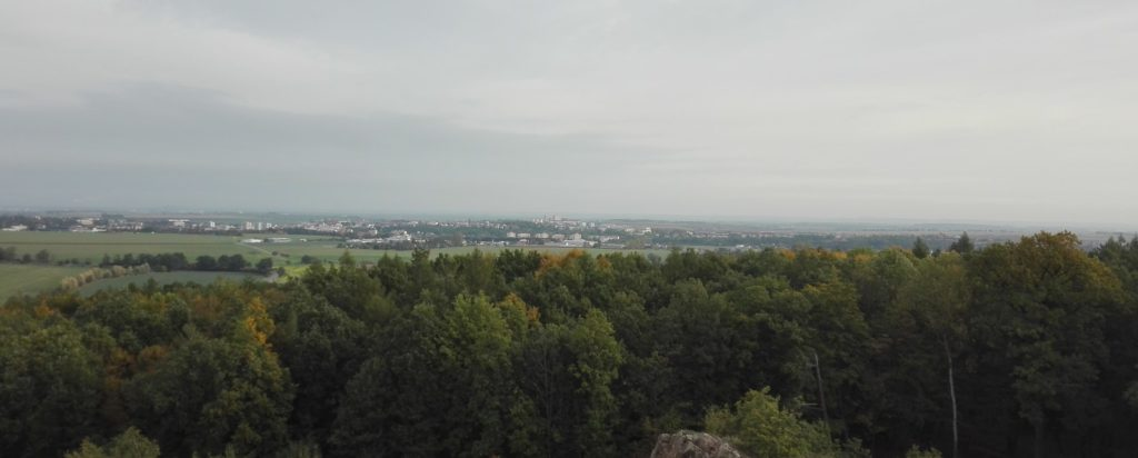 Let balonem Chrudim, výhled na Chrudim a Pardubice
