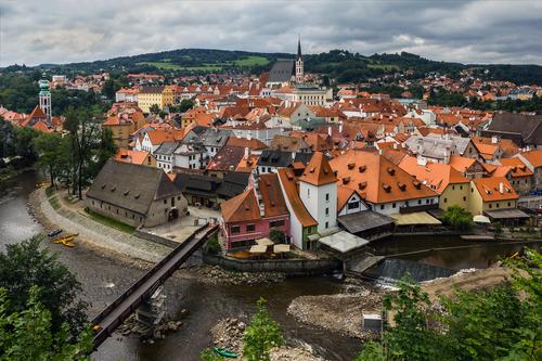 Let balonem Český Krumlov - pohled na město