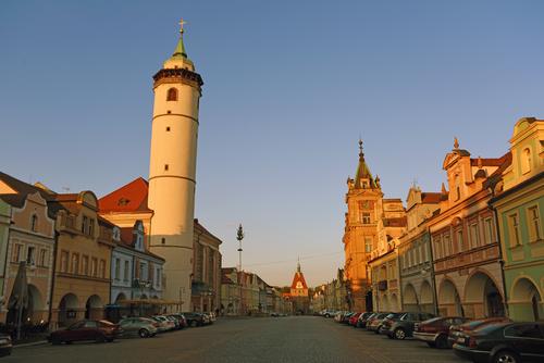 Let balonem Domažlice - pohled na náměstí a věž